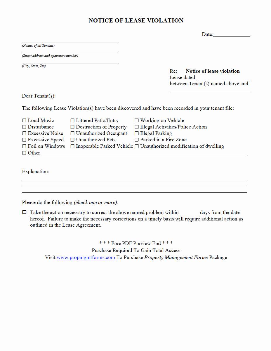 Notice Of Lease Violation Template Elegant Property Management forms