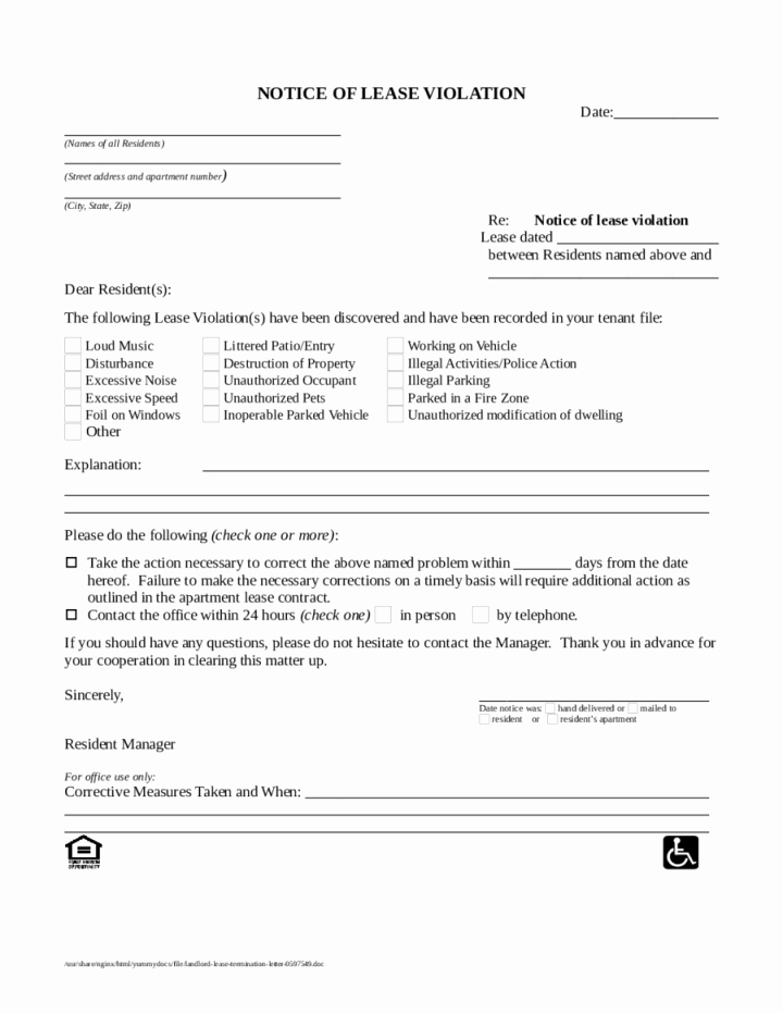 Notice Of Lease Violation Template Fresh Unauthorized Tenant Sample Letter