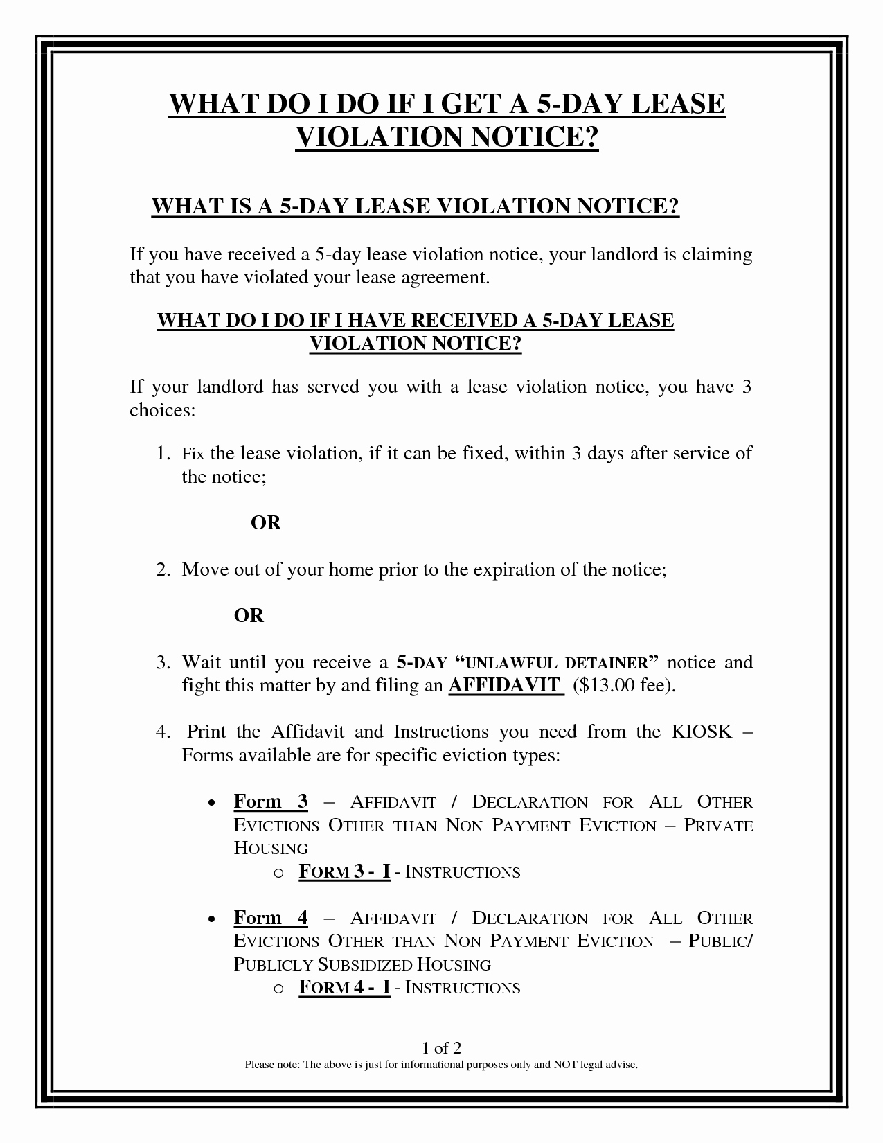 Notice Of Lease Violation Template Inspirational 7 Best Of Notice Violation form Lease