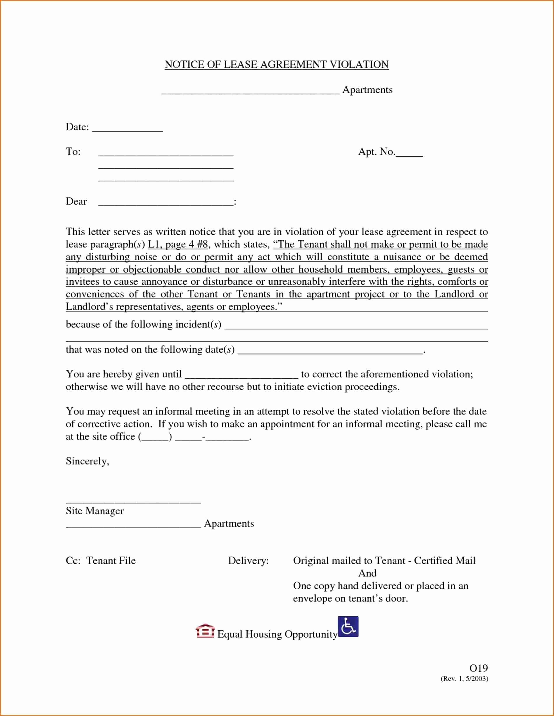 Notice Of Lease Violation Template New Letter to Correct Violations Lease Agreement S
