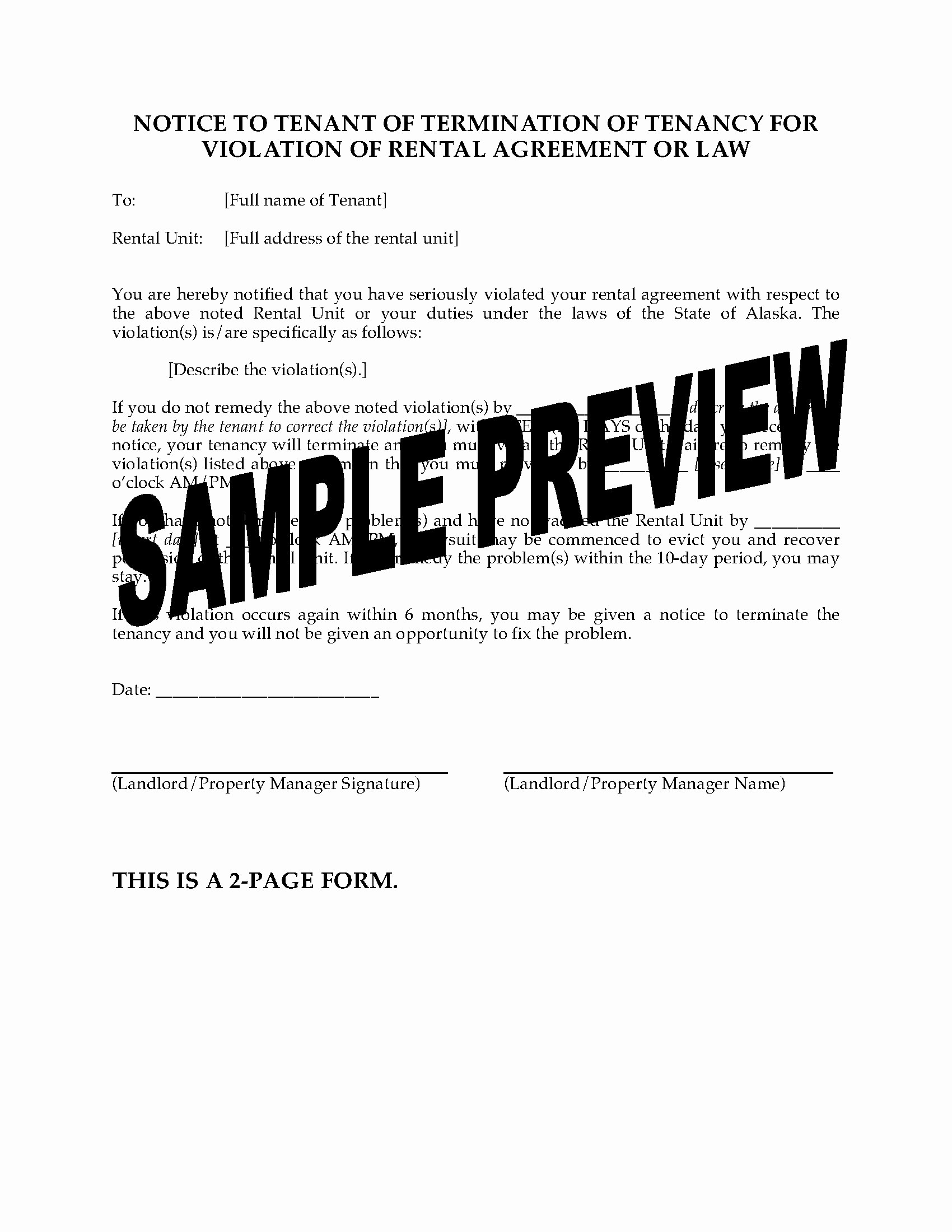 Notice Of Lease Violation Template Unique Alaska Notice Of Termination Of Tenancy for Violation Of