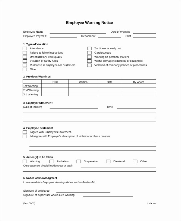 Notice Of Violation Letter Sample Awesome 12 Printable Employee Warning Notice Templates Google