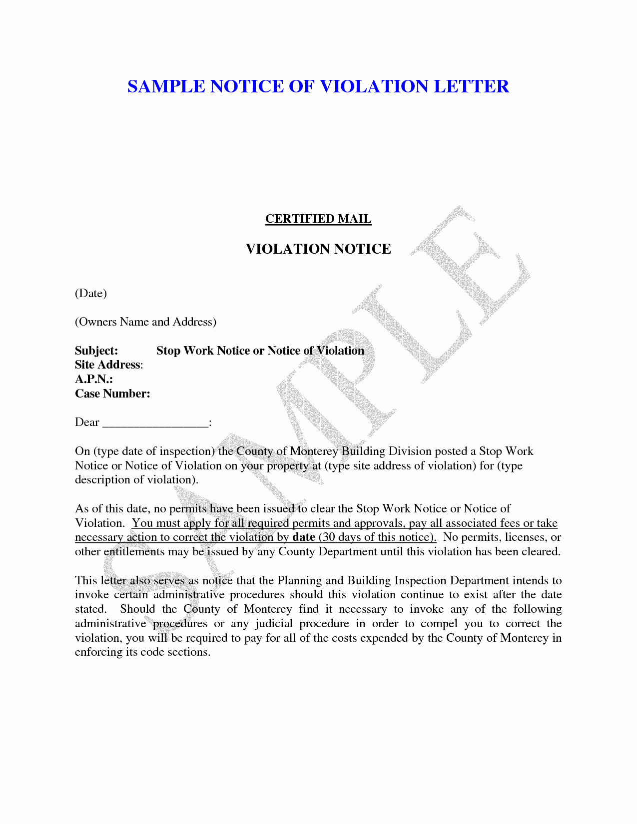 Notice Of Violation Letter Sample Awesome Best S Of Notice Violation Letter Template for