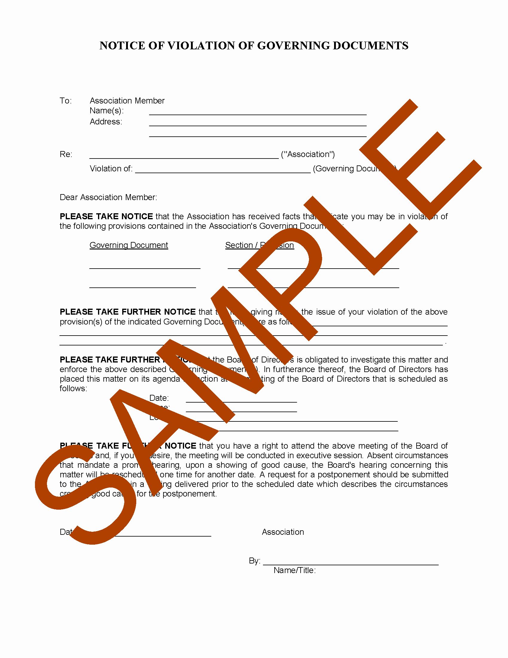 Notice Of Violation Letter Sample Best Of association Notice to Homeowner Of Violation Hoa Member