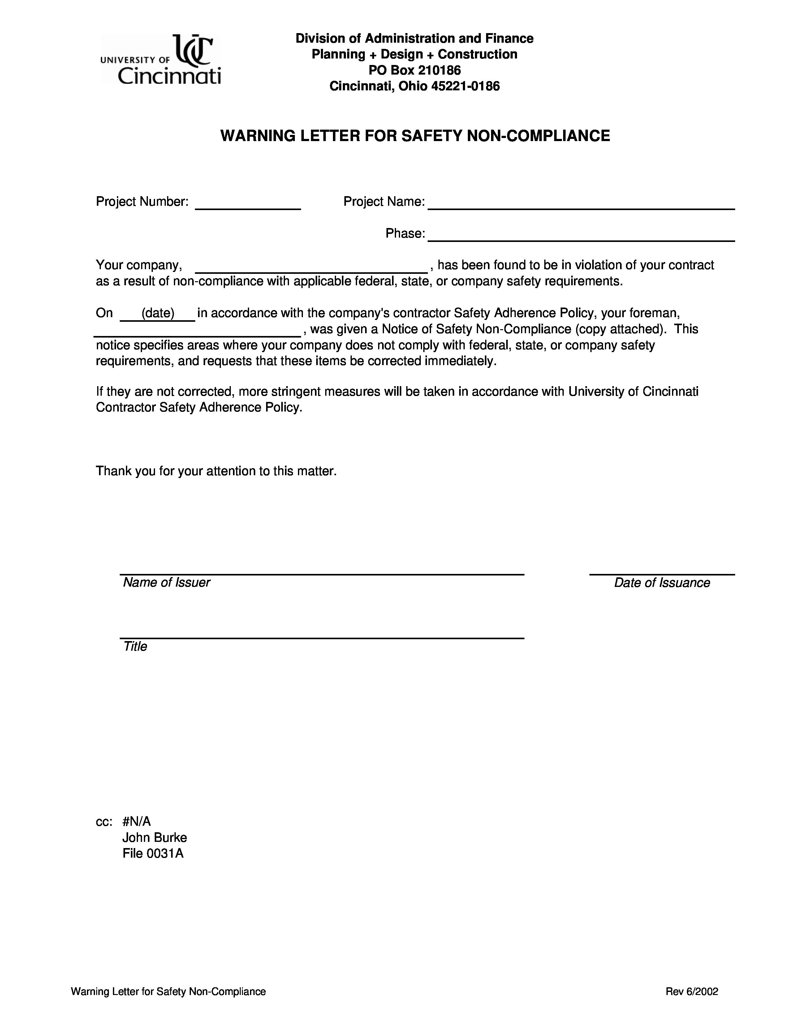 Notice Of Violation Letter Sample Elegant Free Safety Violation Warning Letter