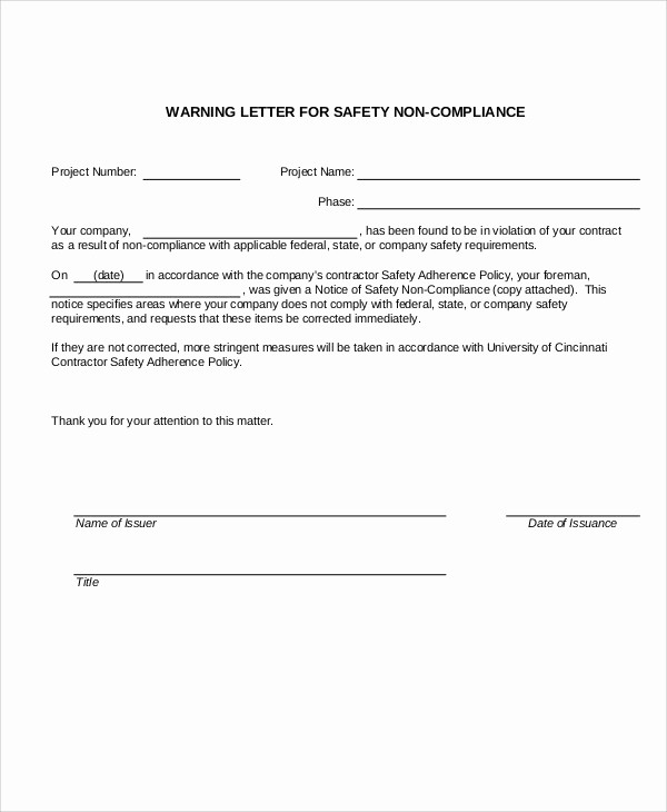 Notice Of Violation Letter Sample Fresh 13 Sample Safety Warning Letter Templates Pdf Doc