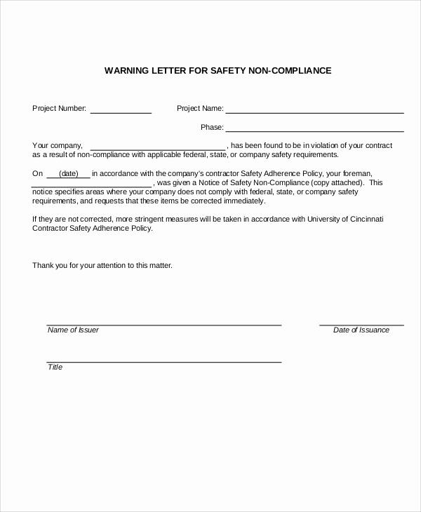 Notice Of Violation Letter Sample Fresh 13 Sample Safety Warning Letter Templates Pdf Doc