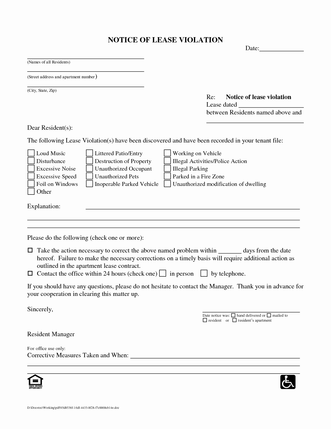 Notice Of Violation Letter Sample Inspirational Best S Of Notice Violation Letter Template for