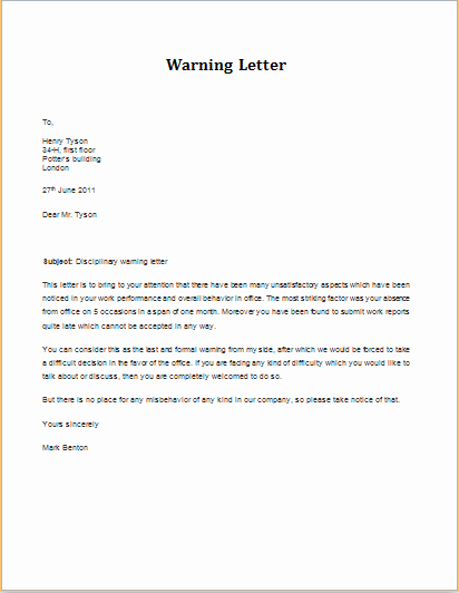 Notice Of Violation Letter Sample Inspirational Violation Of Discipline Warning Letter