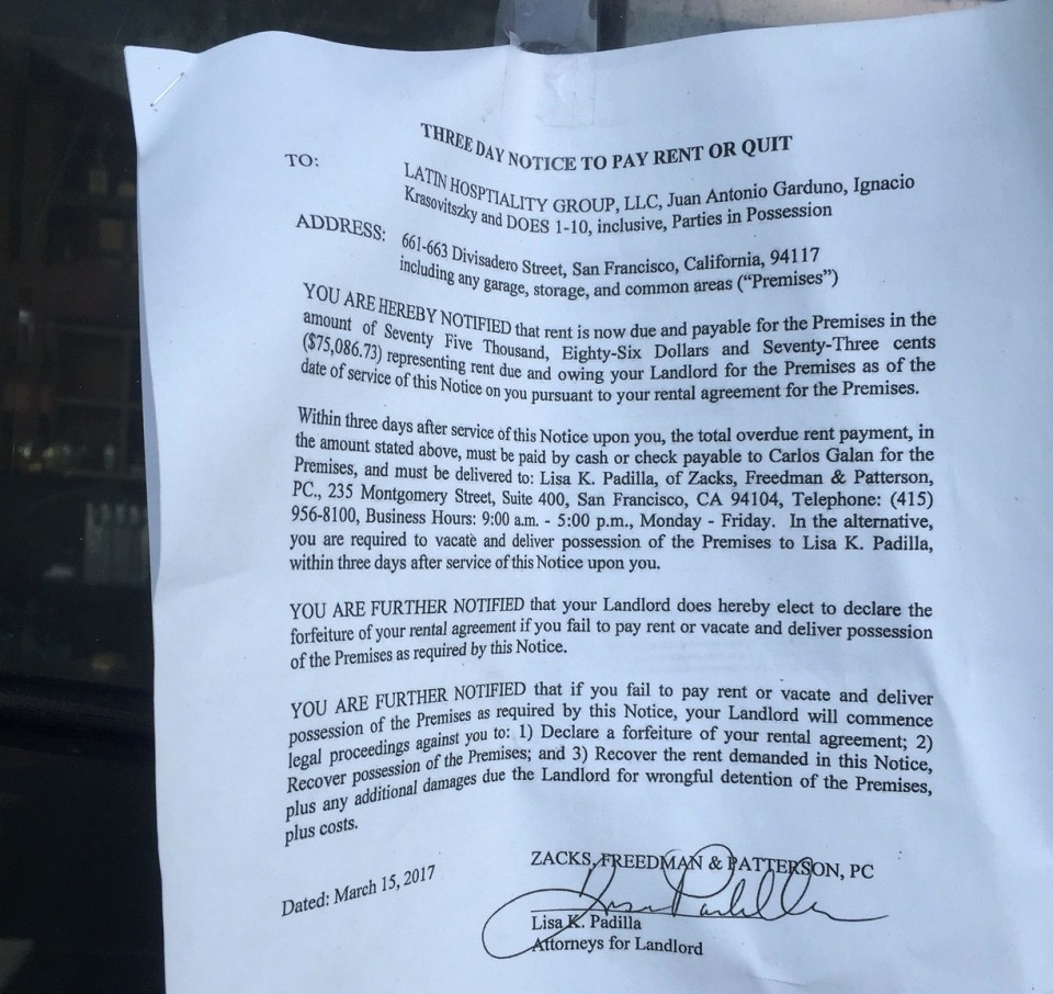 Notice to Pay or Vacate Beautiful Pay Quit Notice Cites La Urbana for $75k In Unpaid