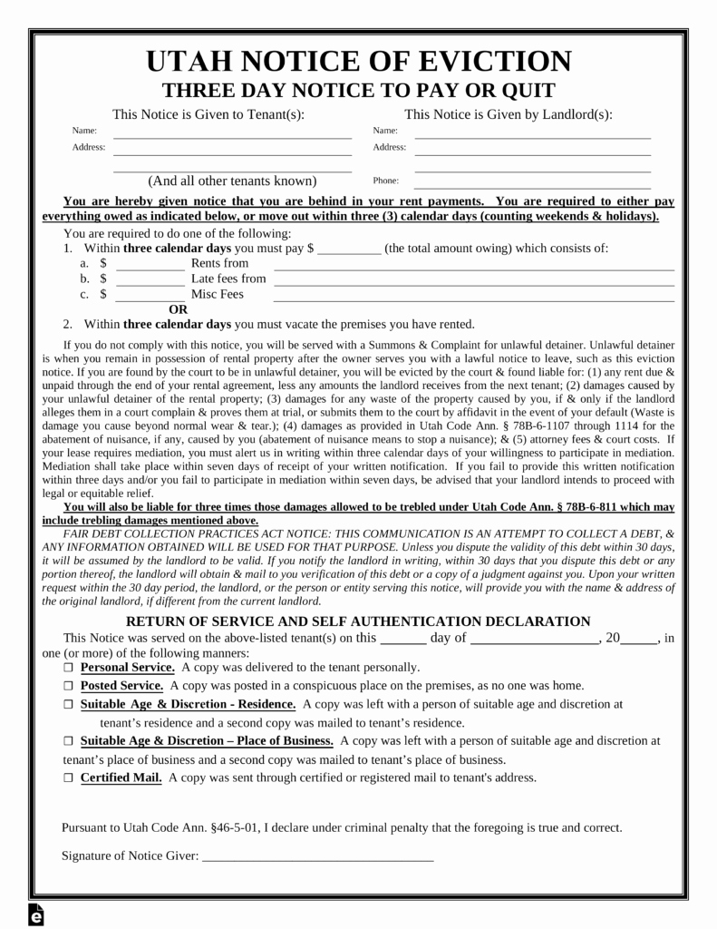 Notice to Pay or Vacate Best Of Utah 3 Day Notice to Quit form Non Payment