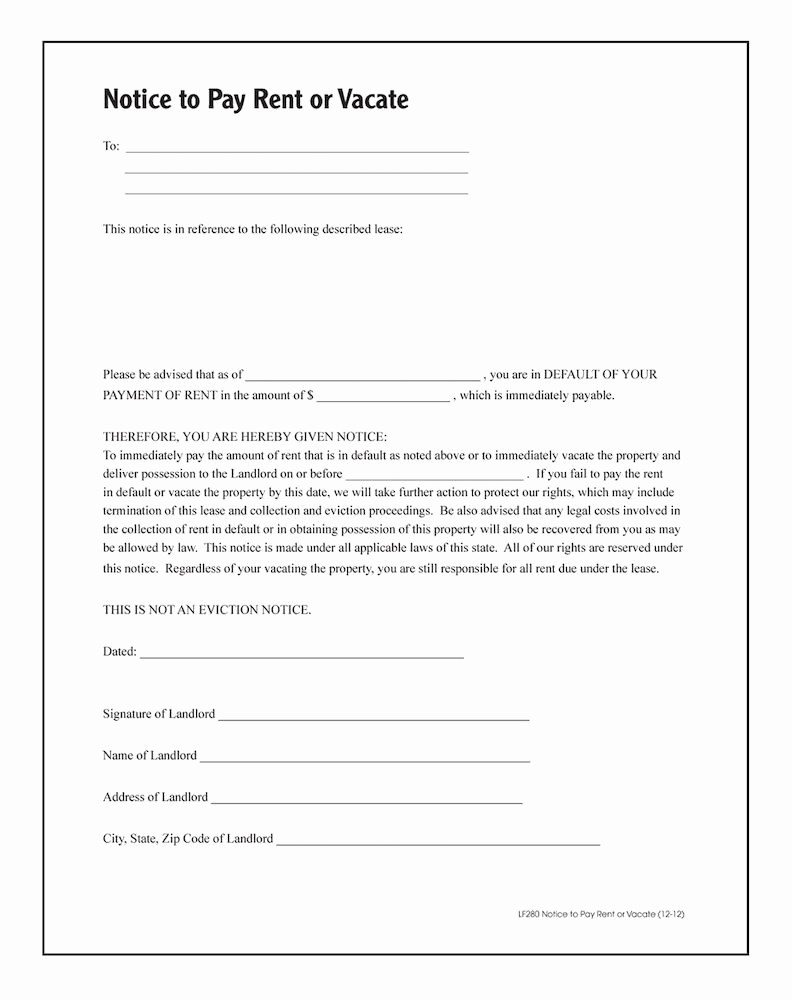Notice to Pay or Vacate Elegant Notice to Pay Rent Quit forms and Instructions