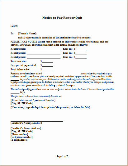 Notice to Pay or Vacate Lovely Notice to Pay Rent or Quit Template for Word