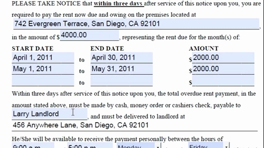 Notice to Pay or Vacate Luxury San Diego 3 Day Notice to Pay Rent or Quit How to Fill