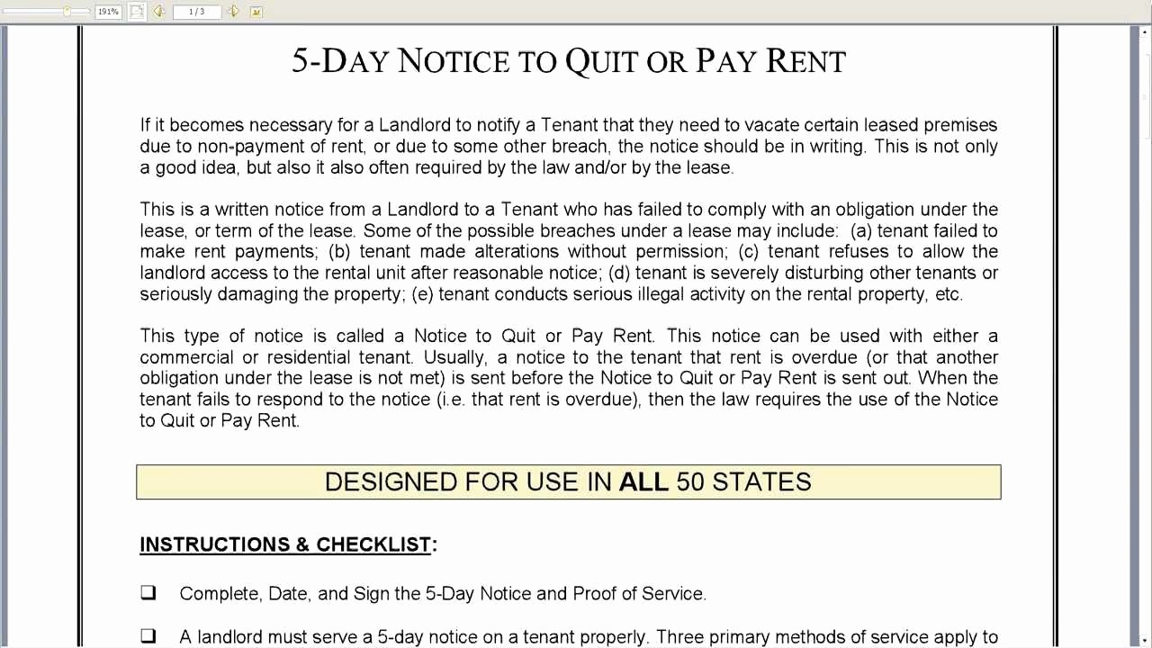 Notice to Pay or Vacate New 5 Day Notice to Quit or Pay Rent Landlord to Tenant