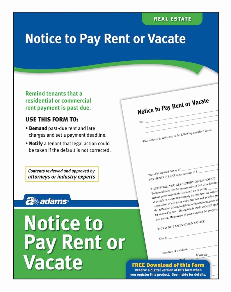 Notice to Pay or Vacate New Adams Notice to Pay Rent Quit forms and Instructions