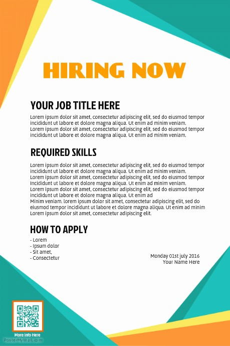 Now Hiring Flyer Template Free Elegant Copy Of Hiring Poster Postermywall Professionally