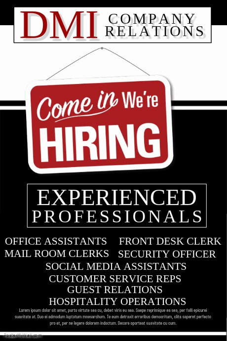 Now Hiring Flyer Template Free Lovely Postermywall