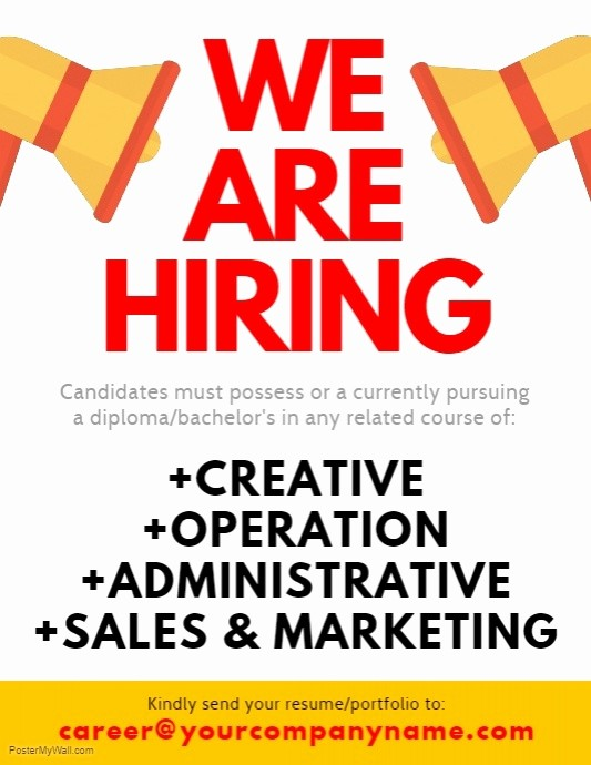 Now Hiring Flyer Template Free Lovely We are Hiring Flyer Template