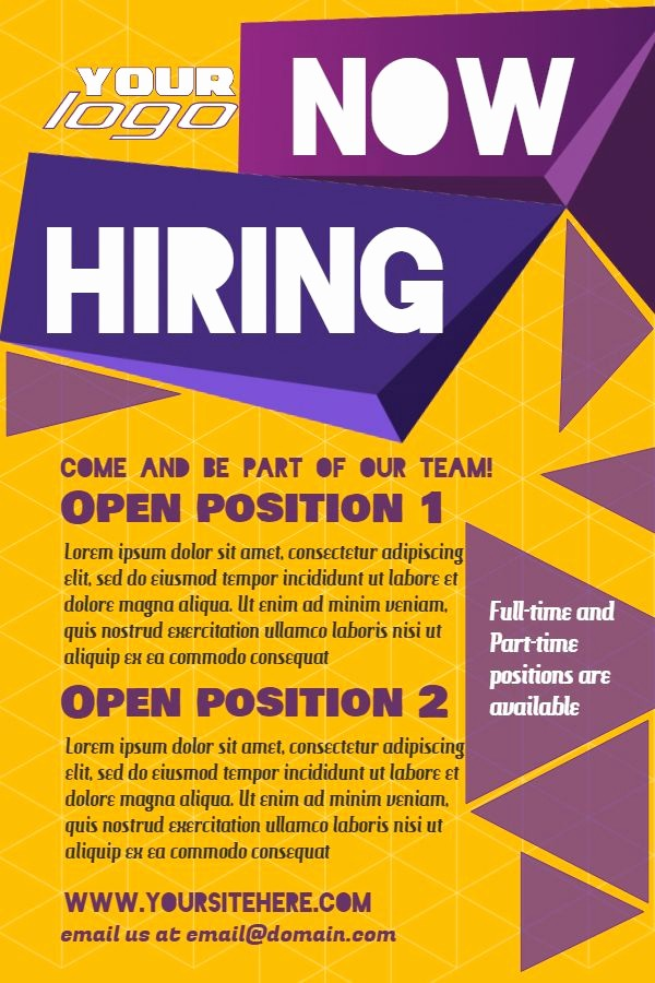 Now Hiring Flyer Template Free Unique Yellow Hiring Poster Design Template to Customize