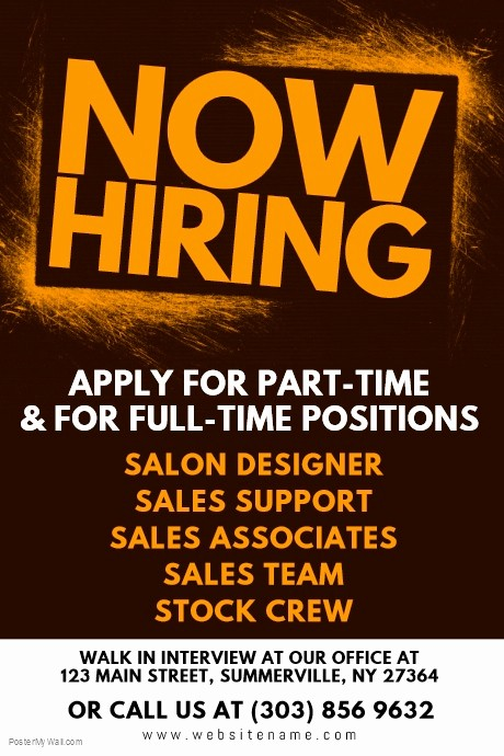 Now Hiring Sign Template Free Awesome Hiring Poster Template