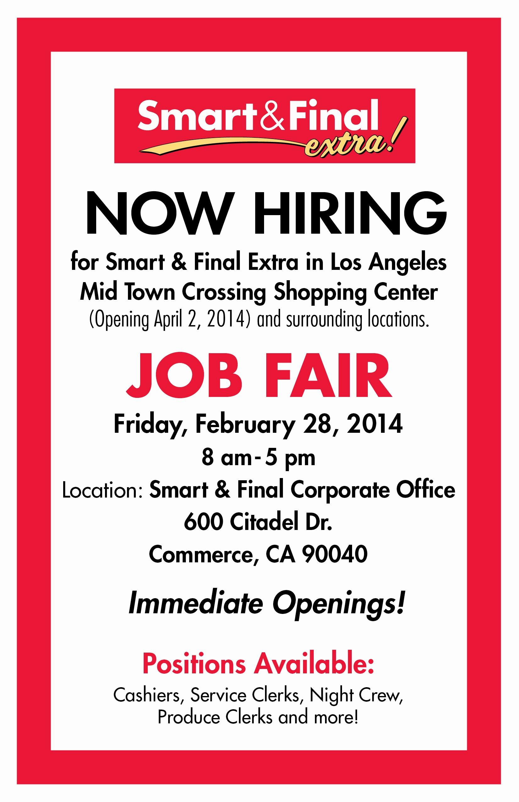 Now Hiring Sign Template Free Beautiful Smart & Final Mid town Crossing – now Hiring – Job Fair
