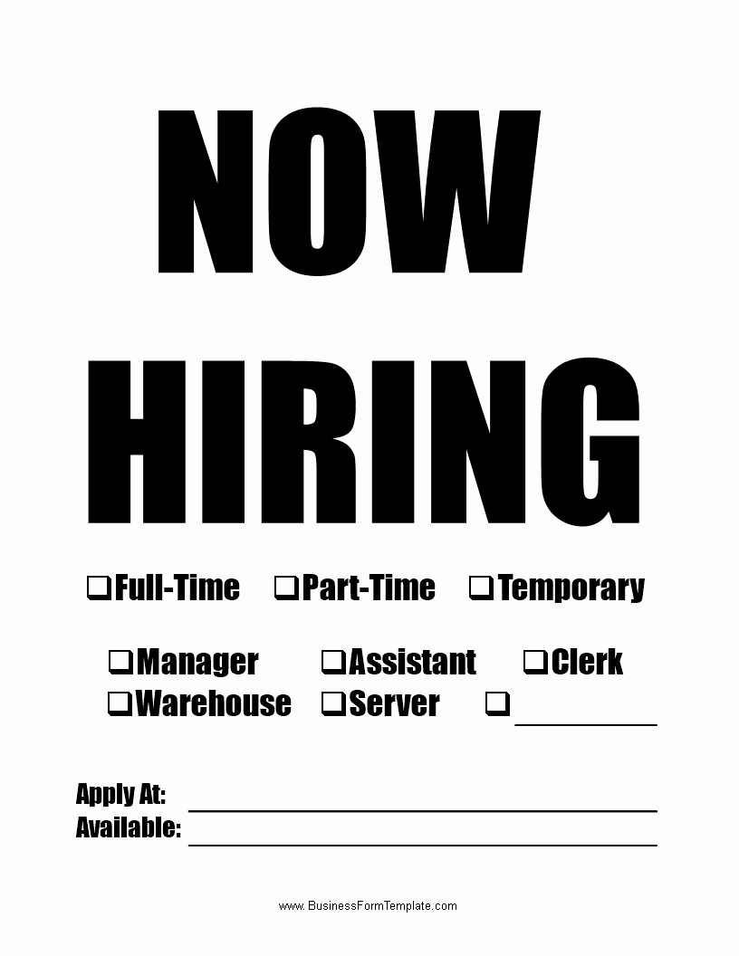 Now Hiring Sign Template Free Lovely now Hiring Template Wordc Download This now Hiring