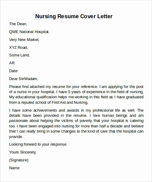 Nursing Cover Letter Template Word Awesome 12 Cover Letter Samples Examples Templates