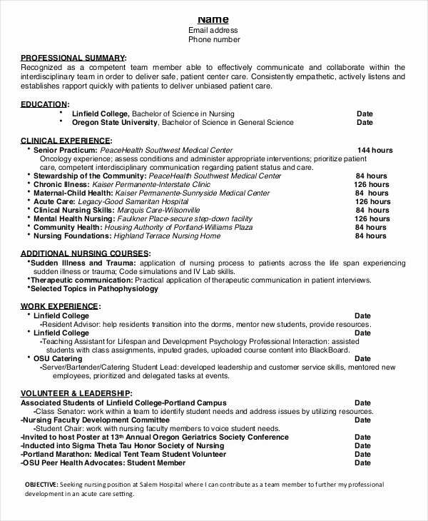 Nursing Cover Letter Template Word Awesome Nursing Student Resume Example 10 Free Word Pdf