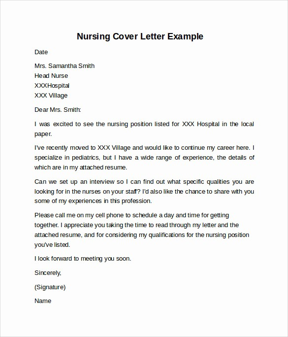 Nursing Cover Letter Template Word Beautiful 10 Sample Nursing Cover Letter Examples to Download