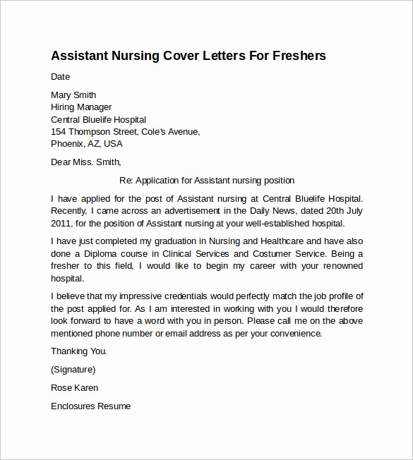 Nursing Cover Letter Template Word Best Of 10 Sample Nursing Cover Letter Examples to Download