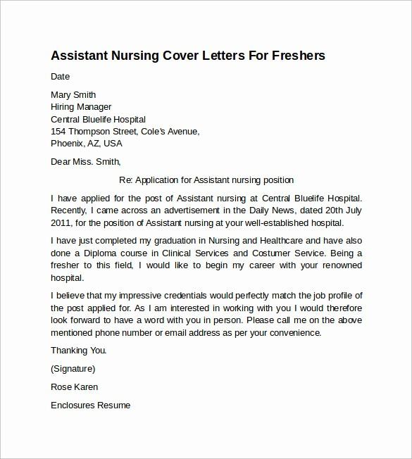 Nursing Cover Letter Template Word Best Of 10 Sample Nursing Cover Letter Examples to Download