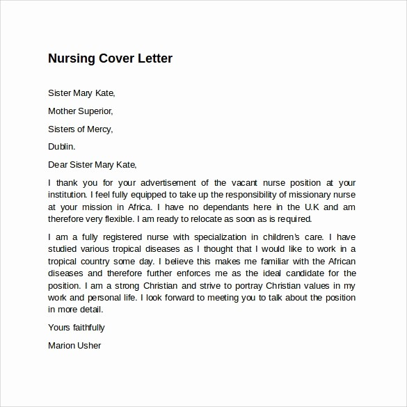 Nursing Cover Letter Template Word Inspirational 8 Nursing Cover Letter Templates to Download