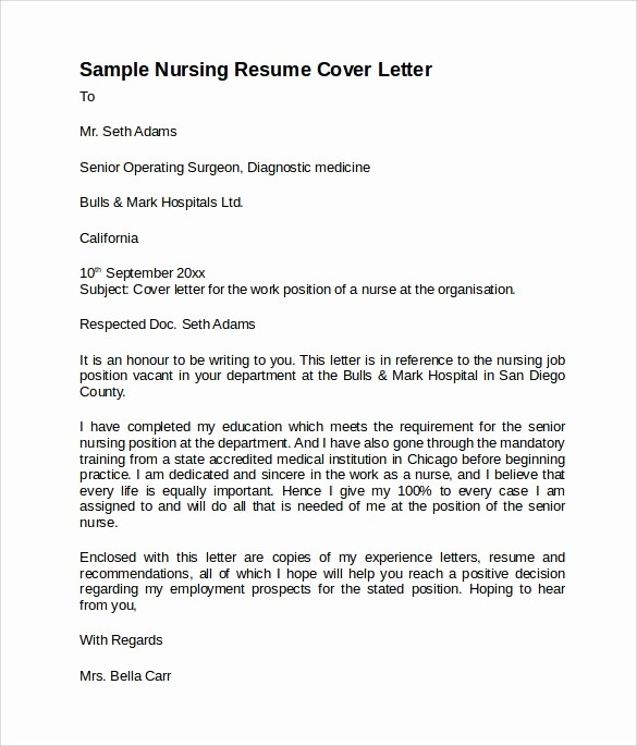 Nursing Cover Letter Template Word Lovely 8 Nursing Cover Letter Templates to Download