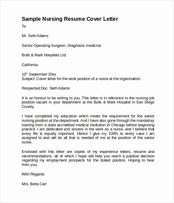 Nursing Cover Letter Template Word Lovely 8 Nursing Cover Letter ...