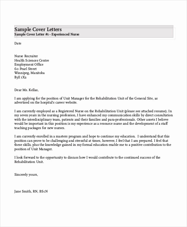 Nursing Cover Letter Template Word New Nursing Cover Letter Example 11 Free Word Pdf