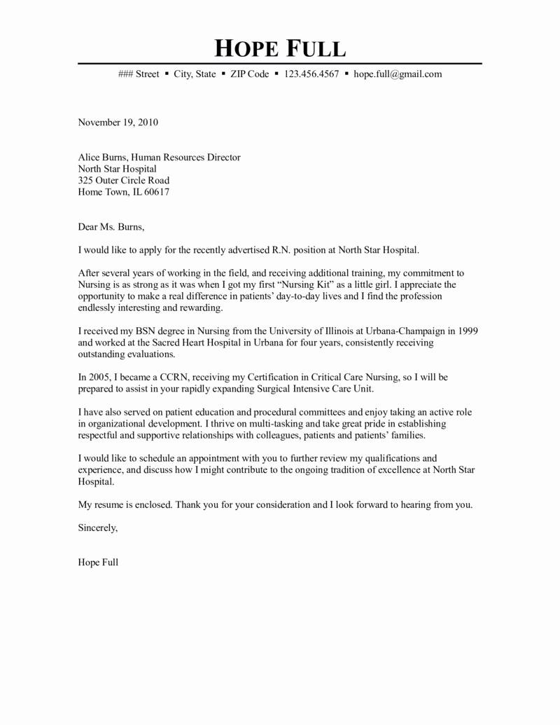 Nursing Cover Letter Template Word New Registered Nurse Cover Letter