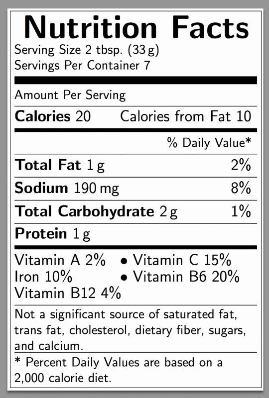 Nutrition Facts Label Template Excel New Nutritional Label Template Nutrition Ftempo