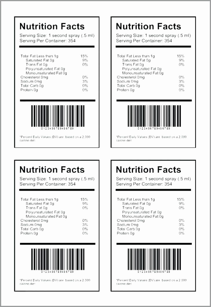 Nutrition Facts Template Excel Download Beautiful 96 Nutrition Facts Template Excel Blank Nutrition Label