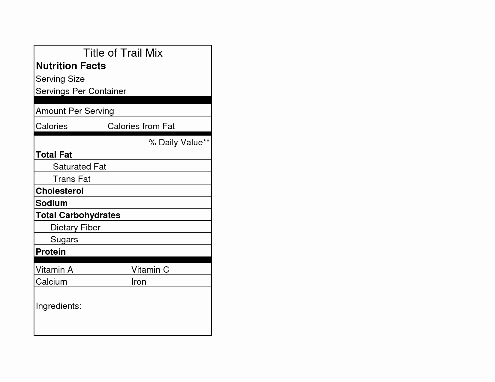 Nutrition Facts Template Excel Download Unique Nutrition Facts Label Template Microsoft Excel