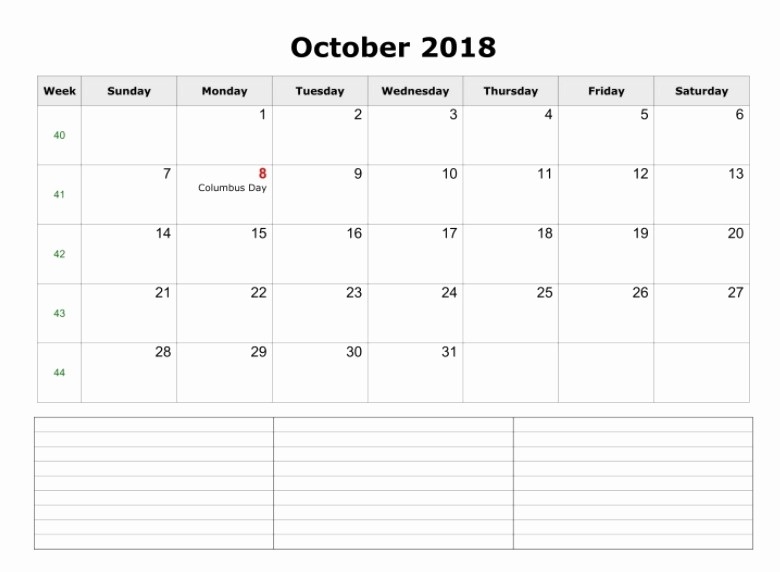 October 2018 Printable Calendar Word Awesome 2018 Printable Monthly Calendar