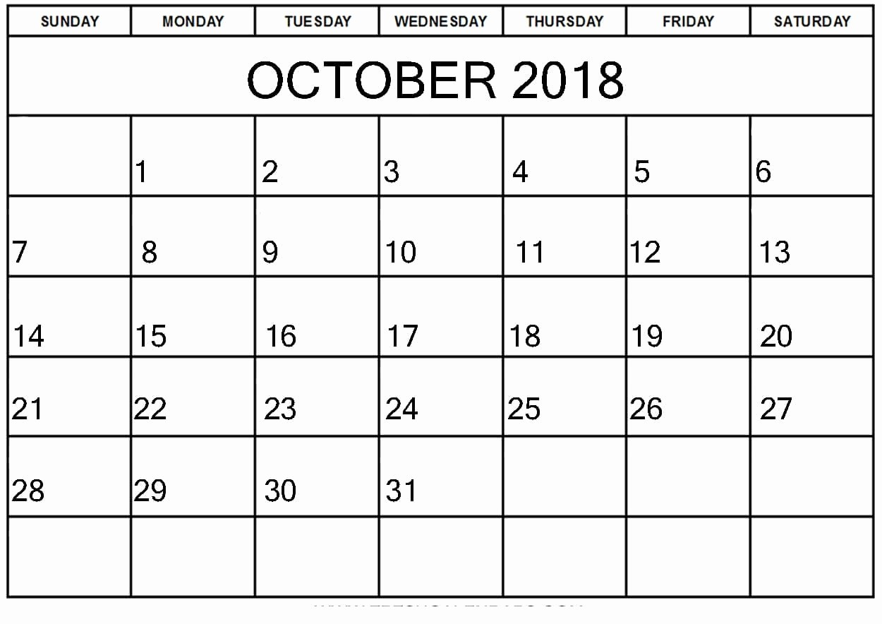 October 2018 Printable Calendar Word Awesome Free October 2018 Calendar Word Document