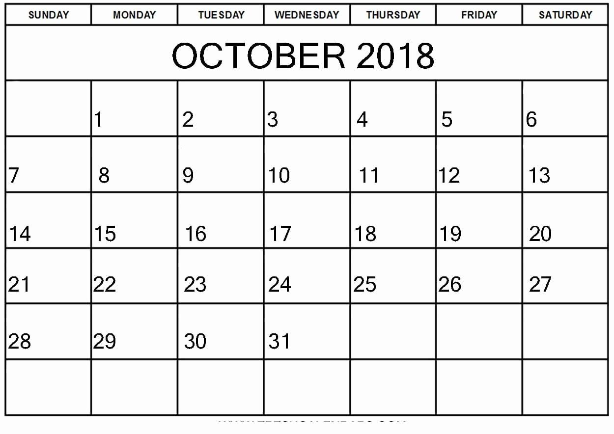 October 2018 Printable Calendar Word Awesome Free October 2018 Calendar Word Document