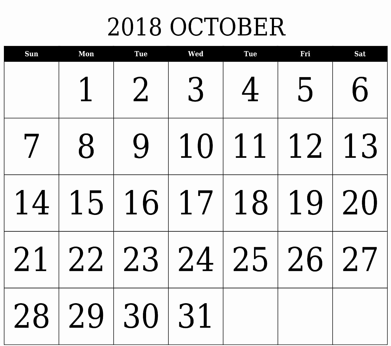 October 2018 Printable Calendar Word Awesome October 2018 Calendar Word