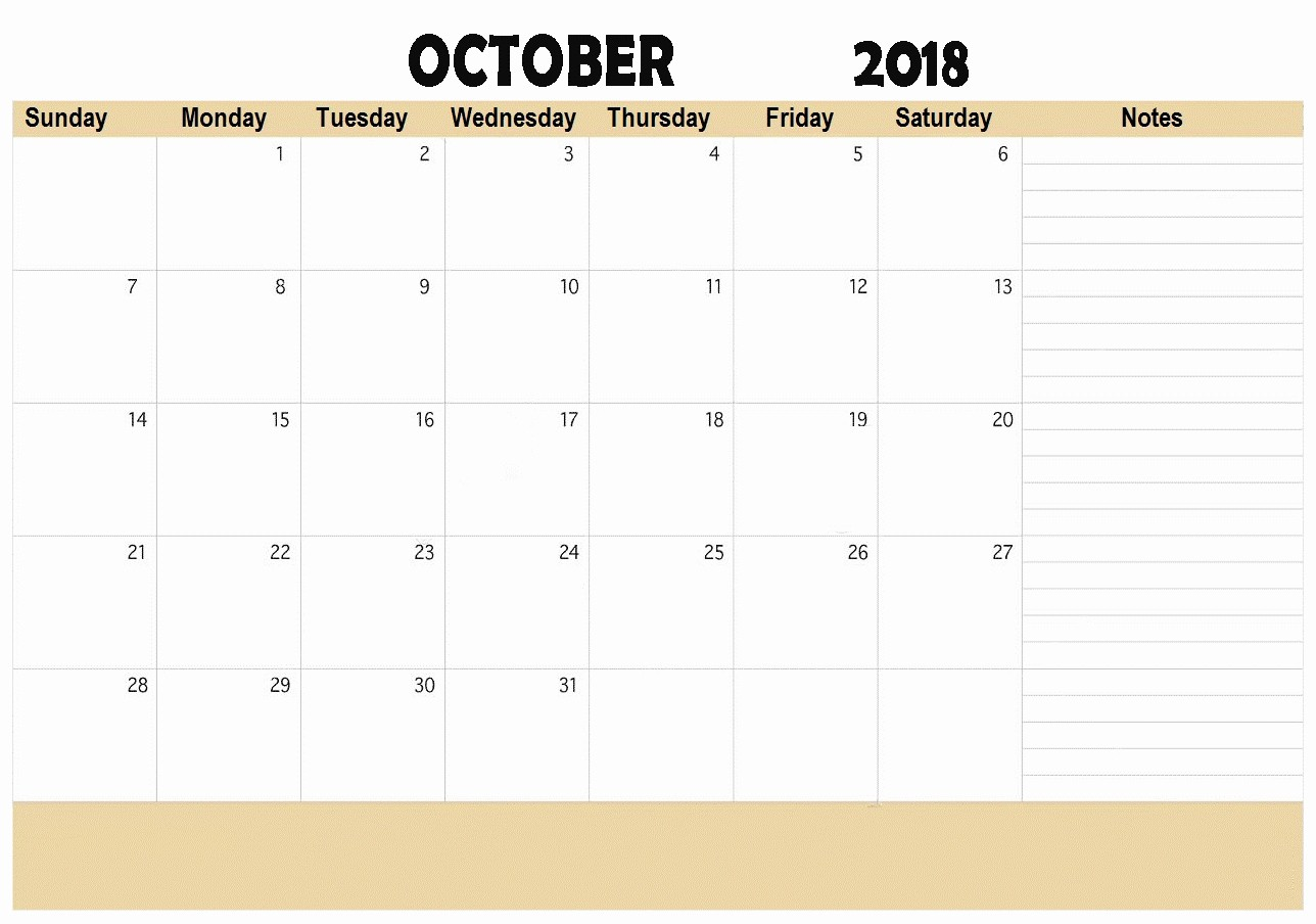 October 2018 Printable Calendar Word Beautiful Free October 2018 Calendar Word Document