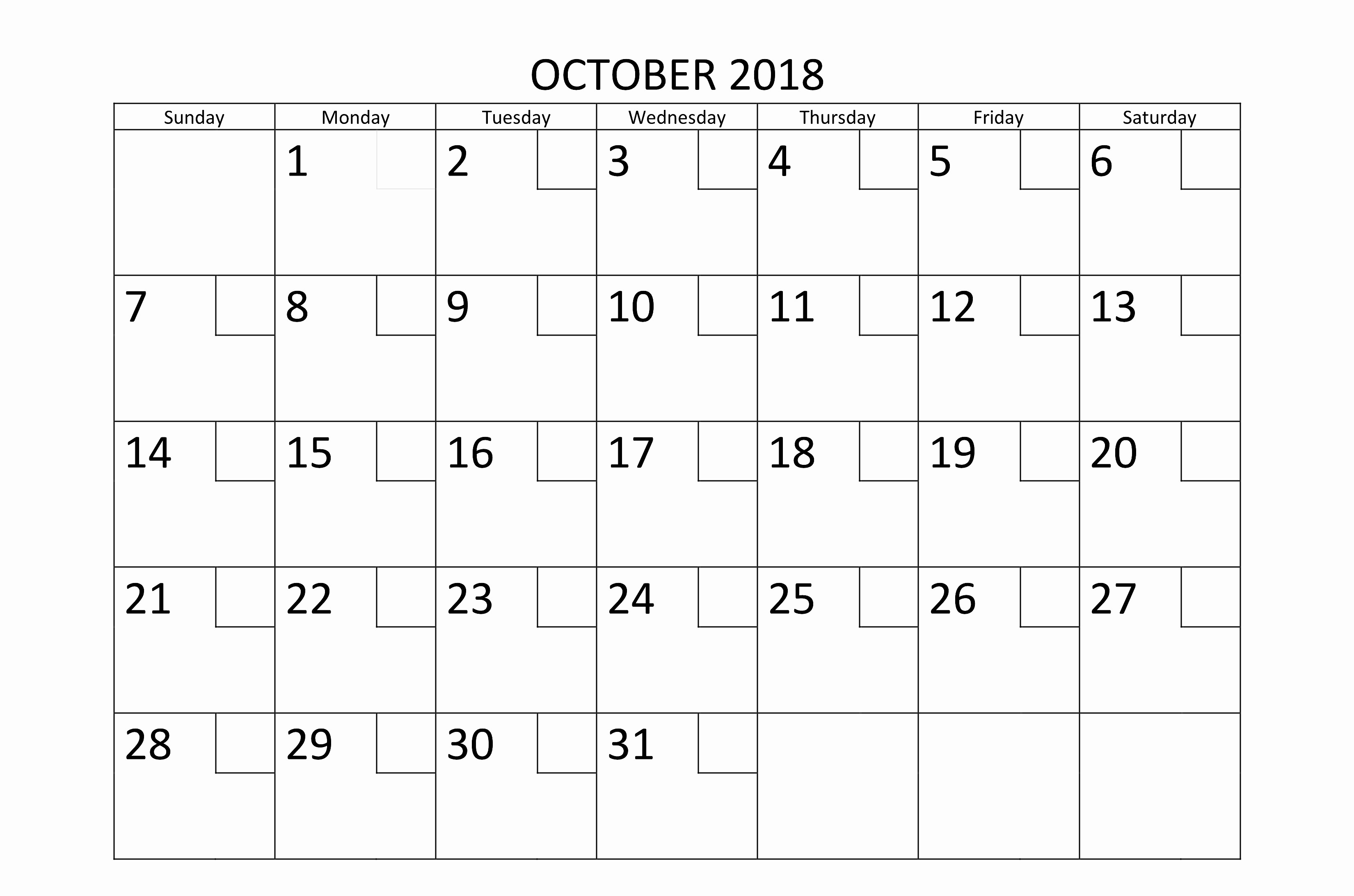 October 2018 Printable Calendar Word Beautiful October Calendar for 2018 Word Printable Letter Template