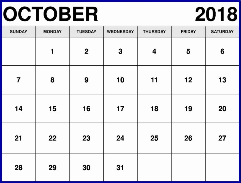 October 2018 Printable Calendar Word Best Of Free October 2018 Calendar Printable Template Us Canada Uk
