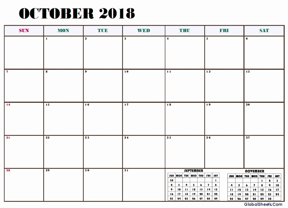 October 2018 Printable Calendar Word Best Of October 2018 Calendar Word Excel Template