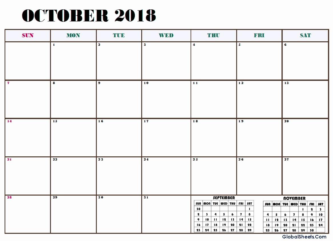 October 2018 Printable Calendar Word Best Of October 2018 Calendar Word Excel Template