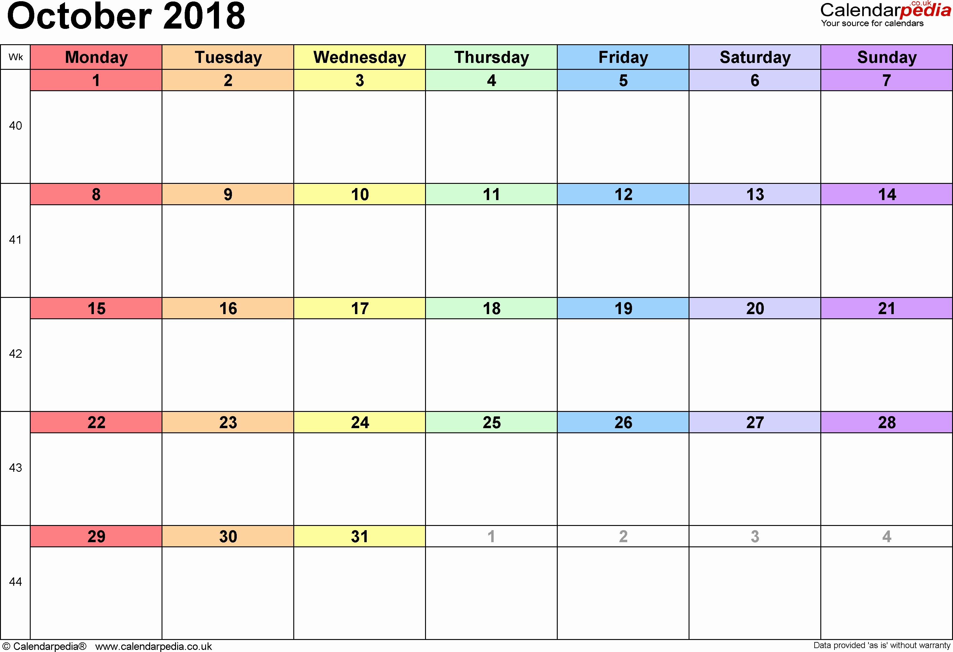 October 2018 Printable Calendar Word Best Of October 2018 Calendar Word